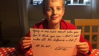 Finn Harper with the handwritten quote