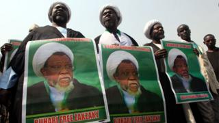 Members of Islamic Movement in Nigeria take part in a demonstration against the detention of their leader Ibraheem Zakzaky in Abuja on January 22, 2019.