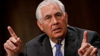 Ngoại trưởng Rex Tillerson phát biểu tại một phiên điều trần ở Ủy ban Đối ngoại Thượng viện