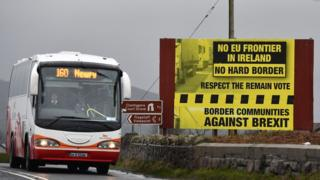 A bus crosses the Irish border