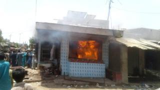 The vet's clinic is set alight in Mirpur Khas