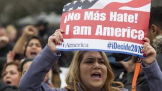 Manifestación en contra de la deportación de inmigrantes en Washington.