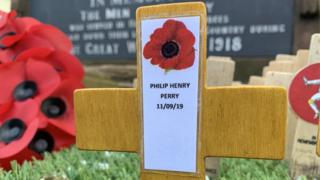 Wooden cross with Private Perry's name on it