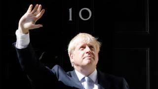 Boris Johnson at door of 10 Downing Street