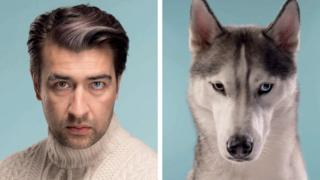 A man with brown hair in a quiff and a brown and blue eye stares forward next to a grey and white husky looking forward with one brown and one light blue eye.