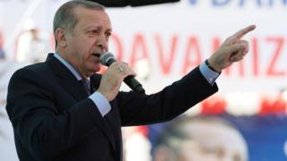 Turkey's President Recep Tayyip Erdogan addresses his supporters in Denizli, Turkey
