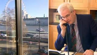 Mark Tami in his office and view of the Thames