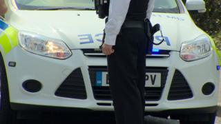 A police officer standing in front of a police car