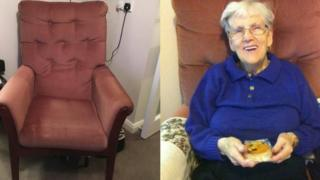 Missing armchair and Alice Jeffcoate in the chair