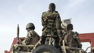 Nigerian soldiers on patrol in north