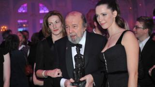 Sir Peter Hall with wife Nicki Frei and daughter Rebecca in 2010