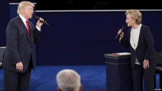 Donald Trump and Hillary Clinton at the second presidential debate, 9 August 2016