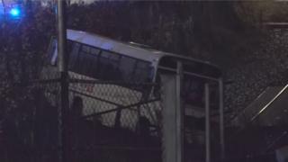 Bus on rail track
