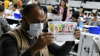 Hombre recuenta los votos en Honduras.