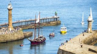 Whitby's piers during Captain Cook festival