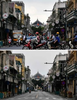 A busy traffic intersection in Hanoi on 13 May (top) and the same street during the Vietnam's lockdown on 6 April
