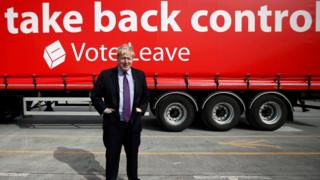 Boris Johnson in front of Vote Leave lorry