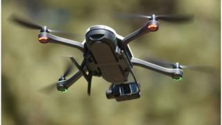 A new GoPro Karma foldable drone is seen flying during a press event in Olympic Valley, California on September 19, 2016