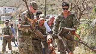British Army Commandos take part in recovery efforts in Tortola