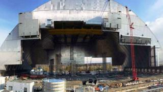 Arch covering Chernobyl reactor