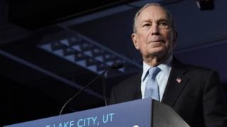 Michael Bloomberg speaks to supporters at a rally in Salt Lake City, Utah, on 20 February 2020