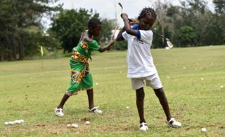 Children playing gold in Yamoussoukro, Ivory Coast - Saturday 22 October 2016