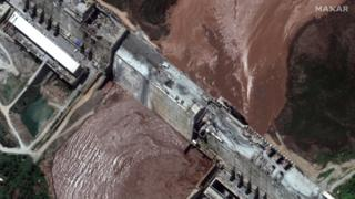 A satellite image made available by MAXAR Technologies shows a close-up view of the Grand Ethiopian Renaissance Dam (GERD) and the Blue Nile River, in the Benishangul-Gumuz region of Ethiopia, 26 June 2020.