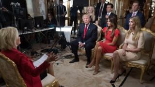 The Trump family, with Ivanka on the far right, during the 60 Minutes interview