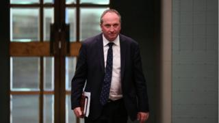 Australian Deputy PM Barnaby Joyce walks through parliament