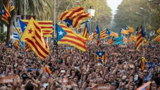 Pro-independence crowds in Barcelona