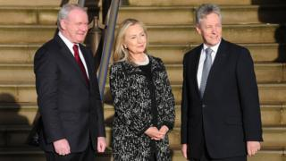 Martin McGuinness, Hillary Clinton and Peter Robinson in 2012