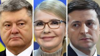 Petro Poroshenko (l), Yulia Tymoshenko (c), Volodymyr Zelenskiy (r)