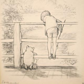 Pooh plays Pooh Sticks with Piglet and Christopher Robin