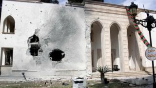 A war damaged compound in Tripoli, Libya (15 March 2017)