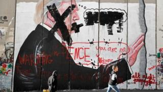 """Pence you are not welcome"", says graffiti in the West Bank city of Bethlehem"