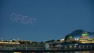 Drones spelling out the word GREAT at the opening ceremony of the Great Exhibition of the North