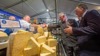 The Prince of Wales meeting the stall holders on the Lancashire Cheese Company
