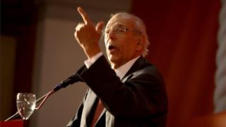 A file picture dated 06 November 2012 shows former Uruguayan President Jorge Batlle speaks during a Southern Common Market (Mercosur) conference in Montevideo, Uruguay. On 24 October 2016,