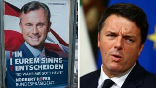 Poster of Austrian far-right leader Norbert Hofer/Pic of Italian PM Matteo Renzi