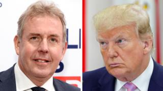 Sir Kim Darroch (left) and President Donald Trump