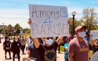 Hmong protester supporting BLM