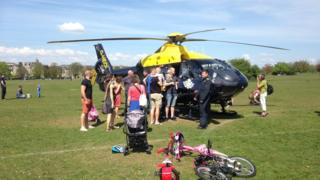 Police helicopter on the Bristol Downs, Sunday, 8 May 2016