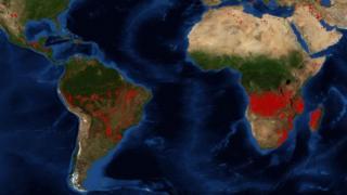 Imagen de la NASA de los incendios