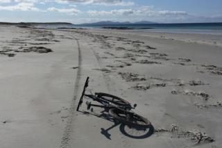 Bike on Western Isles beach