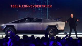 Elon Musk at the launch of Tesla's Cybertruck last year