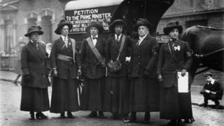 16th November 1912: Suffragettes in Finchley after they have walked from Edinburgh to London to deliver a petition to the prime minister.