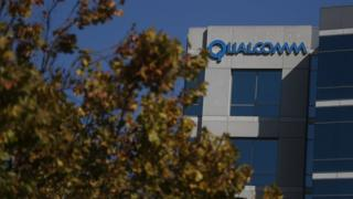 A sign is posted at a Qualcomm office on November 1, 2017 in San Jose, California.