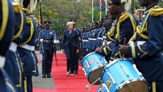 Prime Minister Theresa May arrives at the State House in Nairobi, to meet the President of Kenya Uhuru Kenyatta