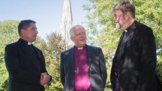 Dean of Jersey the Very Reverend Mike Kierle, the Bishop of Salisbury the Right Reverend Nicholas Holtam and Dean of Guernsey the Very Reverend Tim Barker