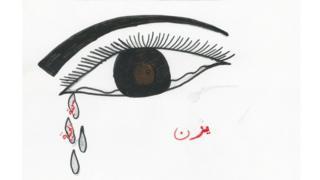 """Desenho de uma criança refugiada da Síria mostra um olho com lágrimas escorrendo. Em cada lágrima, há o dizer: """"Bela Síria"""""""